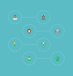 Flat icons elf snake avatar and other vector