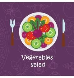 Fresh vegetables salad with olive oil on violet vector image