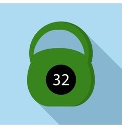 Green kettlebell icon flat style vector