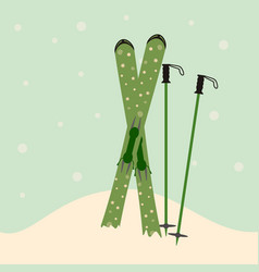 green skis and ski poles standing in snow vector image vector image