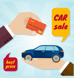 hand buying a car with credit card rental or sale vector image