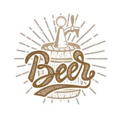 hand drawn beer emblem beer barrel design vector image vector image