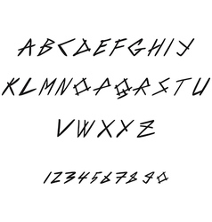 Hand drawn hipster font and numbers thin italic vector