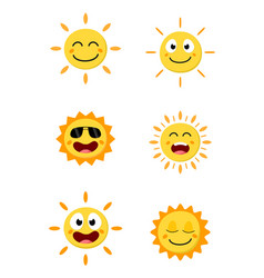 Happy sun cartoon collection set vector