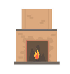 Home fireplace with fire vector