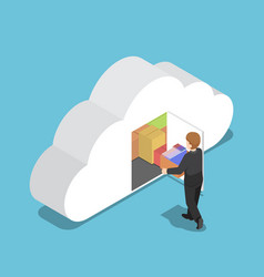 isometric businessman keep file in cloud shaped vector image vector image