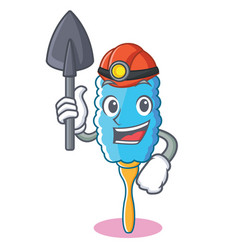 Miner feather duster character cartoon vector