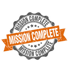 mission complete stamp sign seal vector image vector image