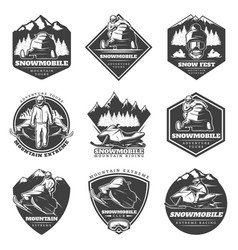 monochrome winter sport extreme labels set vector image vector image