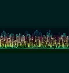 Night city background hand drawn vector