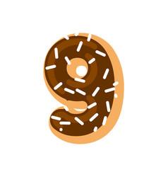 number 9 donut doughnut font nine sweet alphabet vector image vector image