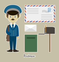 Official postman in uniform vector