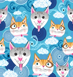 Pattern funny portraits of dogs and cats vector