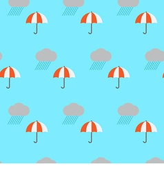 Seamless pattern rain cloud and umbrella vector image vector image