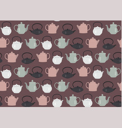 Seamless pattern teapots pink vector