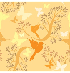 Seamless pattern with hummingbirds vector image