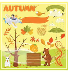 Set of Autumn Elements and vector image vector image