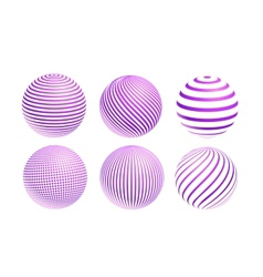 striped violet ball logo vector image