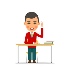 student studying young boy raised his hand vector image vector image