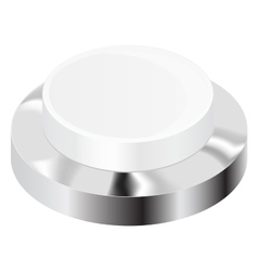 White push button with chrome frame vector