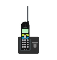 Wireless phone with antenna flat icon vector