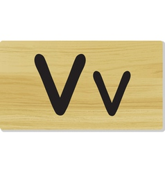 wooden letter V vector image