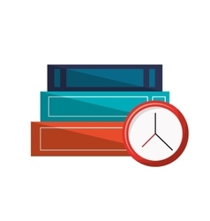 Books and clock icon vector