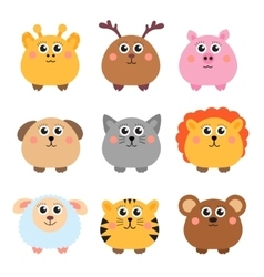 Set of cute animals rounded shape Round animals vector image
