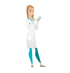 caucasian doctor holding a mobile phone vector image