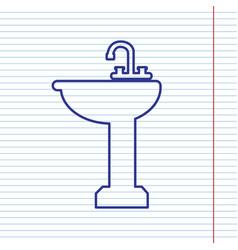 Bathroom sink sign navy line icon on vector