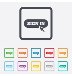 Sign in with cursor pointer icon login symbol vector
