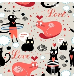 Pattern lovers cats vector