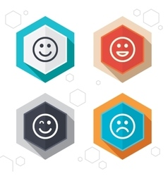 Smile icons happy sad and wink faces vector