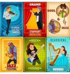 Musicians flat banners composition poster vector