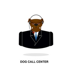 Doggy call center dog with headset pet in costume vector