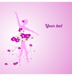 Beautiful background with tender ballerina in vector