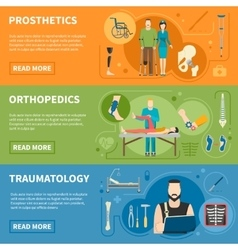 Horizontal banners of traumatology orthopedics vector