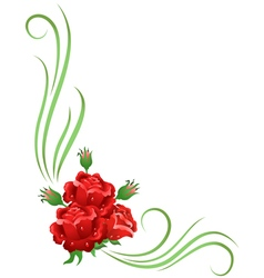 Ornament with red roses vector