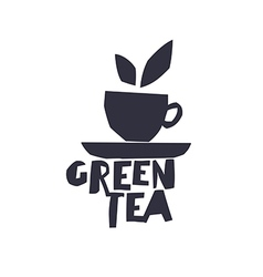 Green tea cup of tea and text green tea isolated vector
