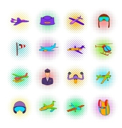 Aviation icon set pop-art style vector