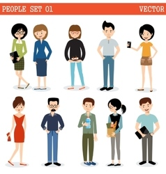 Set of modern people men and women vector
