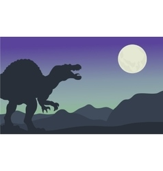 Silhouette of spinosaurus at the night vector