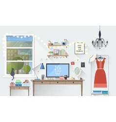 Modern girl workplace in flat minimalistic style vector