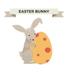 Cute bunny holding easter egg vector
