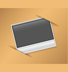 Blank photoframe on brown board vector