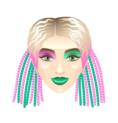 Blonde girl with colorful pigtails isolated on vector