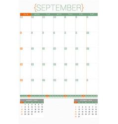 Calendar planner 2016 design template september vector