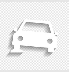Car parking sign white icon with soft vector
