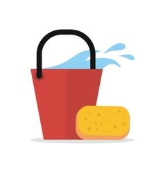 Cleaning Web Banner Bucket with Water and Sponge vector image vector image