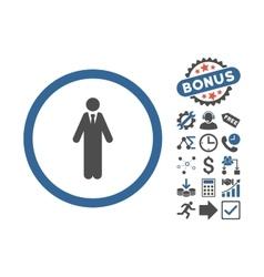 Clerk flat icon with bonus vector